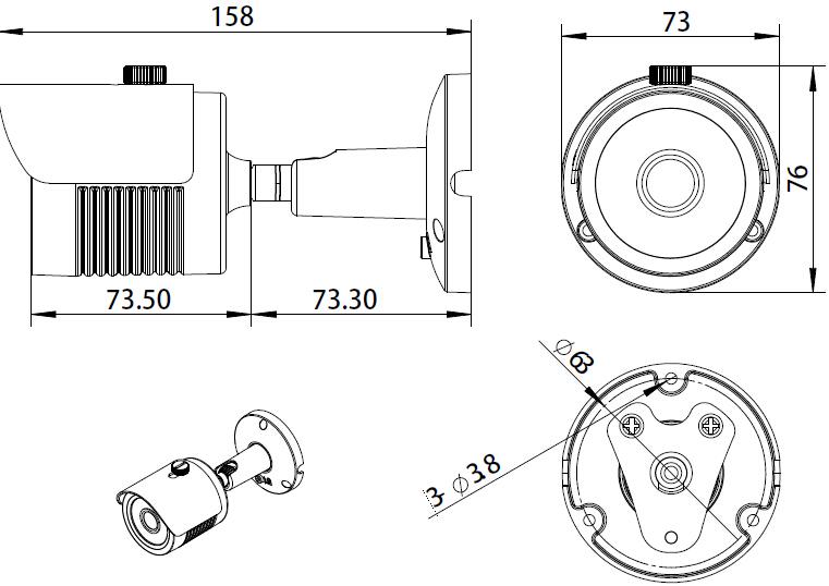 HD-IP Mini Bullet Camera (4MP, IR 15m, POE)