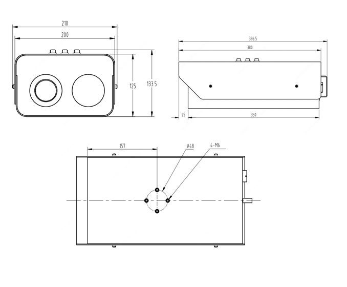 Dimensions of Uniview TIC600 system