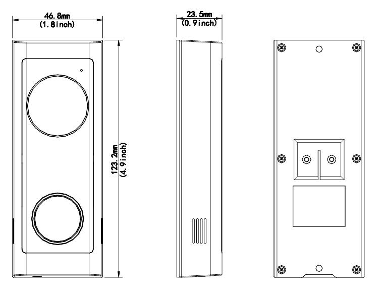 Dimensions of Uniview Doorbell (URDB1)