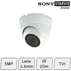 Mini Eyeball Dome Camera (HD-TVI 5MP, fixed lens, IR 15m) | CCTV Dome Camera