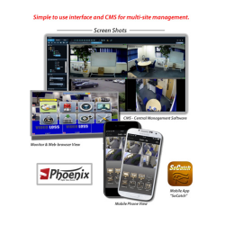 The Phoenix DVR can be accessed from a TV, monitor, PC, Mac, tablet and smartphone. It comes with a free mobile app and CMS software to manage multiple DVR's.