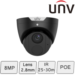4K Black Turret Dome Camera (8MP, Smart, True WDR)   UNV