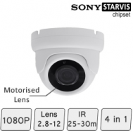 Motorised HD CCTV Dome Camera (SONY Starvis, Vari-focal Lens, 25-30m IR)