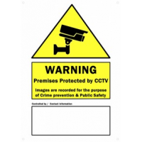 CCTV Warning Sign PVC - Size A3