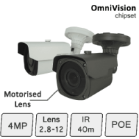 IP Camera with Motorised Lens (4MP, IR 40m, POE) | IP Camera
