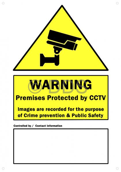 CCTV Warning Sign PVC - Size A3